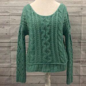 ✨Free People Sea Green Wool Boho Chunky Sweater S